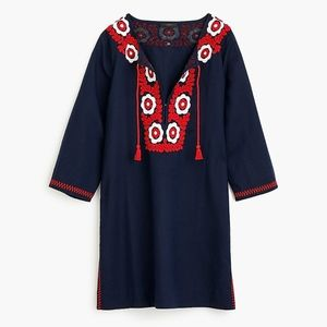 New JCREW Navy Embroidered Beach Tunic